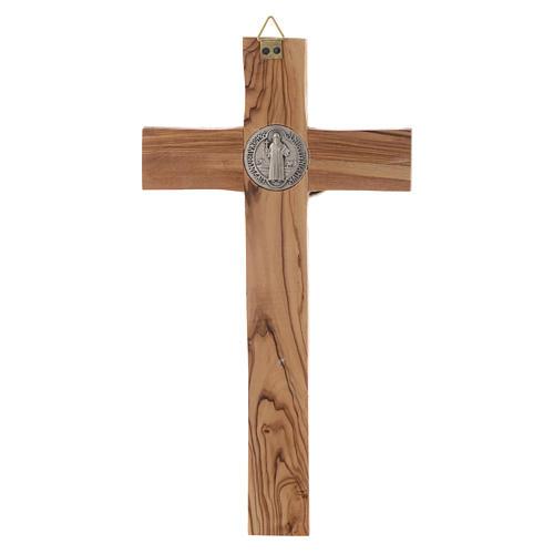 Crocifisso ulivo Medjugorje san Benedetto h 19 cm 3