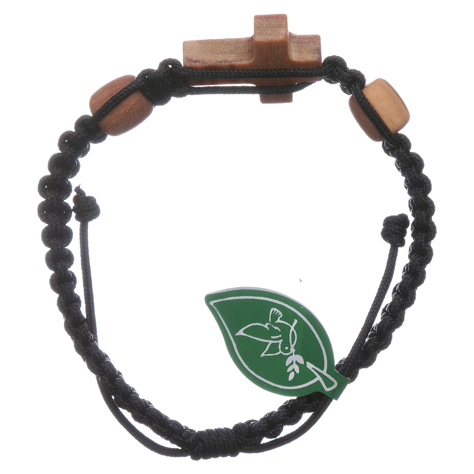 Bracciale Medjugorje croce ulivo 2 grani corda nera 4