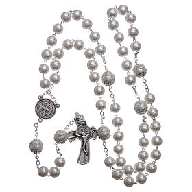 Medjugorje rosary in pearl imitation Saint Benedict 8 mm s4