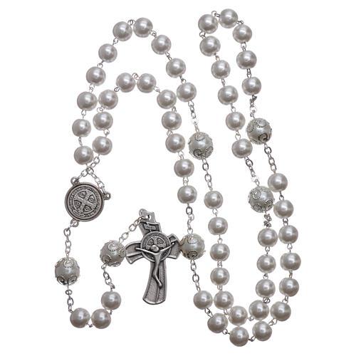 Rosario símil perla Medjugorje San Benito 8 mm 4