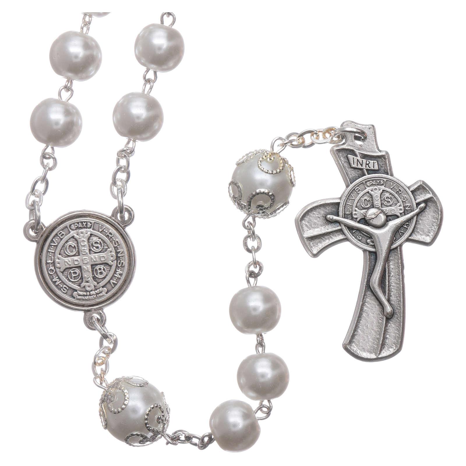 Medjugorje rosary in pearl imitation Saint Benedict 8 mm 4