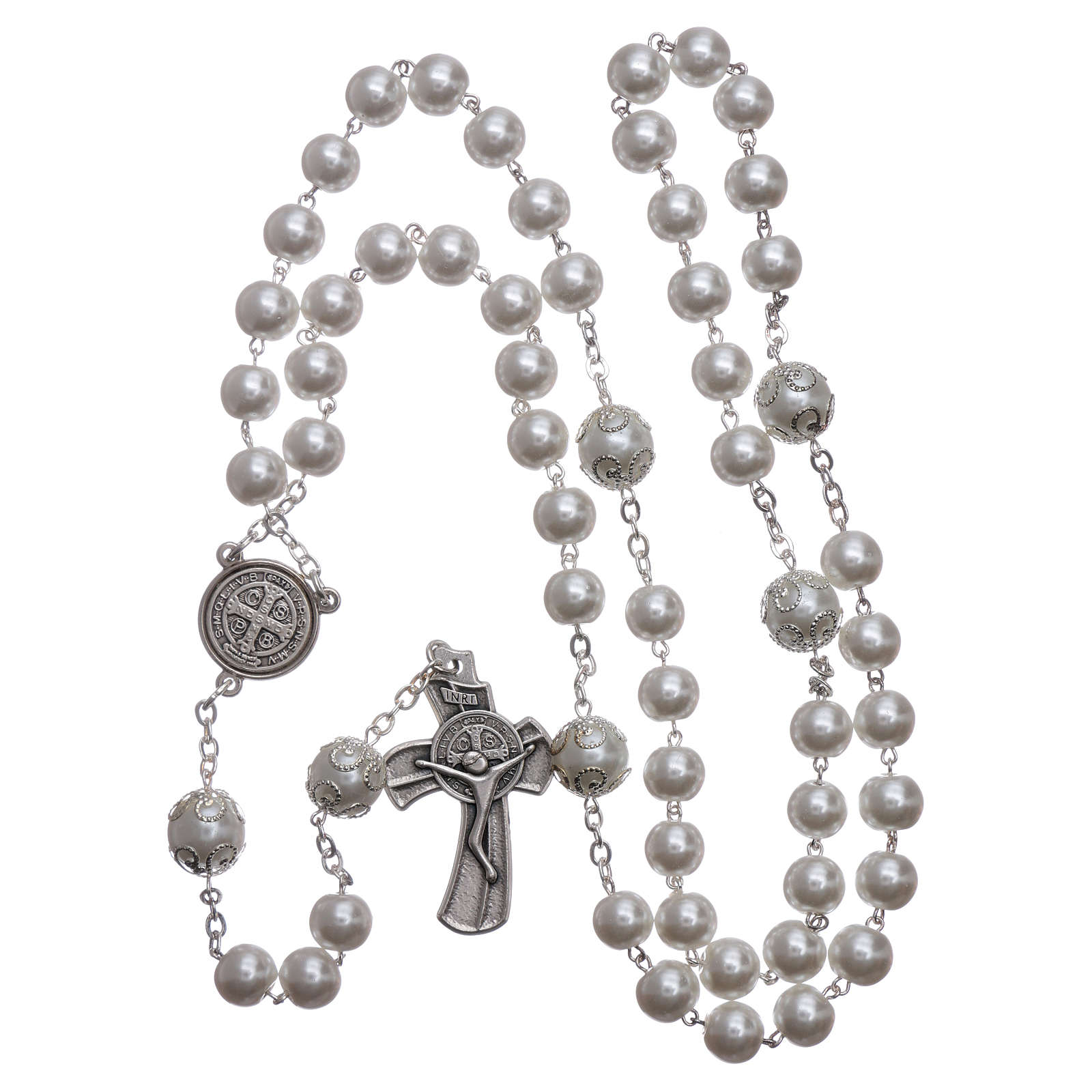 Medjugorje rosary in pearl imitation Saint Benedict 8 mm 4