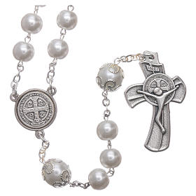 Medjugorje rosary in pearl imitation Saint Benedict 8 mm s1