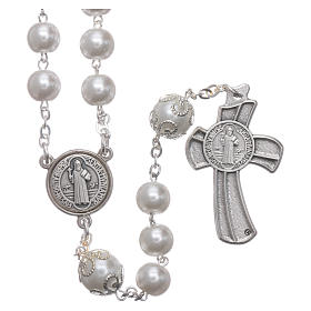 Medjugorje rosary in pearl imitation Saint Benedict 8 mm s2