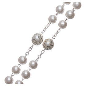 Medjugorje rosary in pearl imitation Saint Benedict 8 mm s3