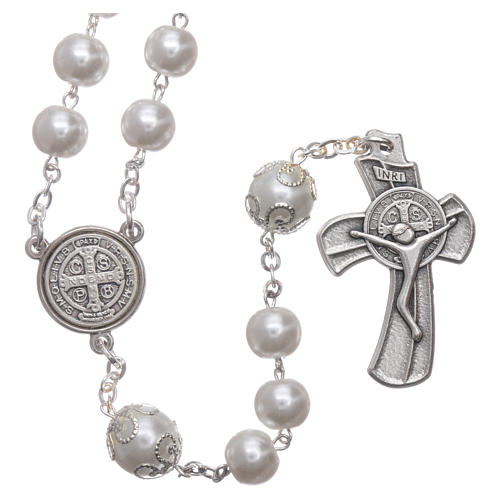 Medjugorje rosary in pearl imitation Saint Benedict 8 mm 1