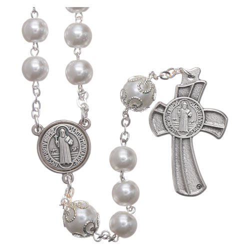 Medjugorje rosary in pearl imitation Saint Benedict 8 mm 2