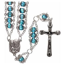 Rosario Medjugorje cristal doble cadena azul s1