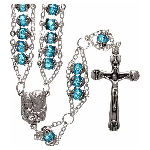 Rosario Medjugorje cristal doble cadena azul 1