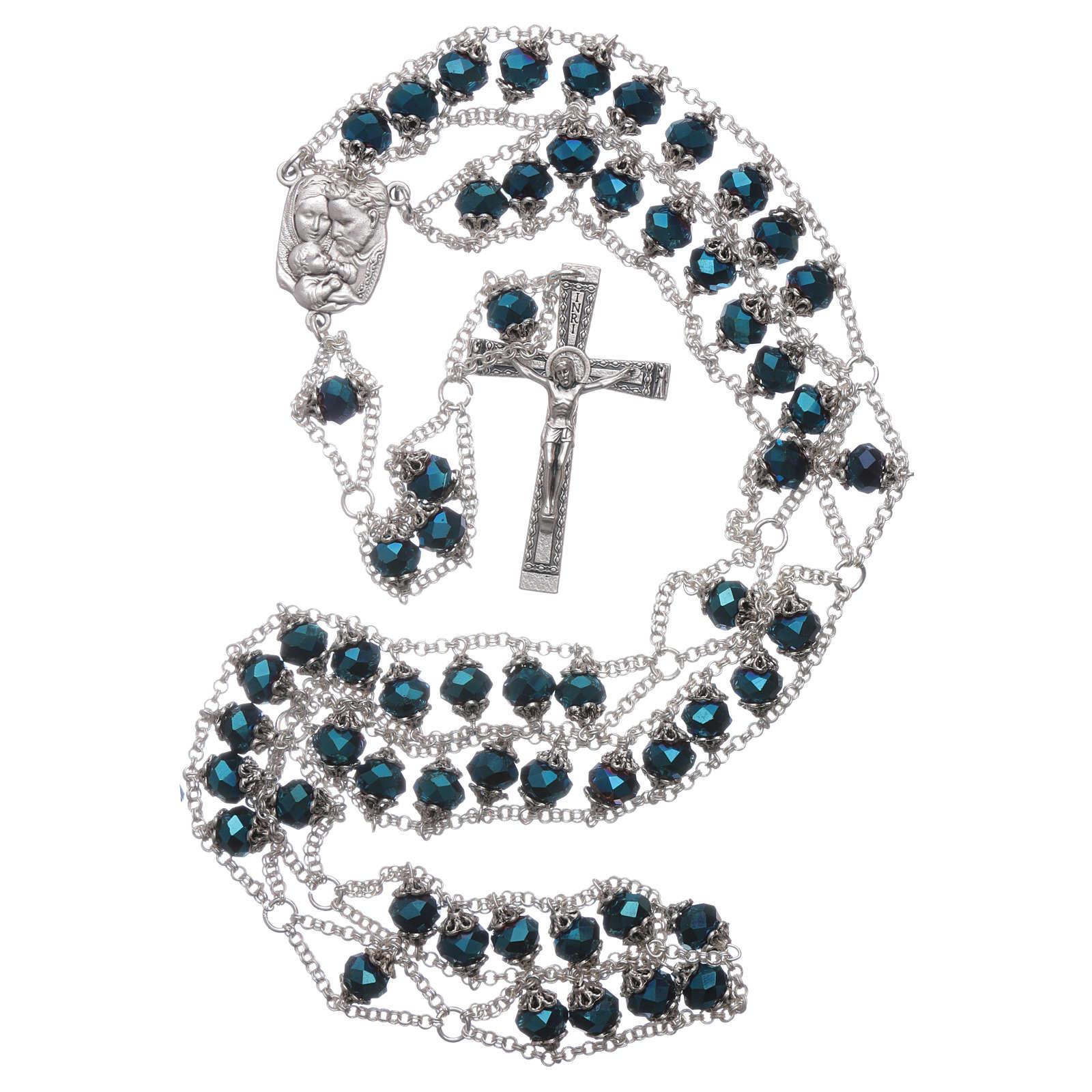 Rosario Medjugorje cristallo doppia catena blu 4