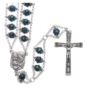 Rosario Medjugorje cristallo doppia catena blu s1