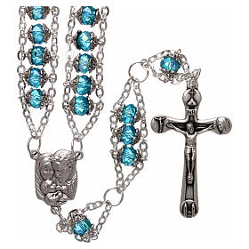 Medjugorje rosary in crystal blue with double chain and 8 mm grains s1