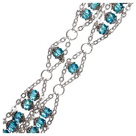 Medjugorje rosary in crystal blue with double chain and 8 mm grains s3