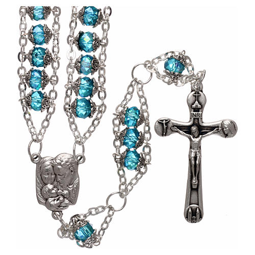 Medjugorje rosary in crystal blue with double chain and 8 mm grains 1