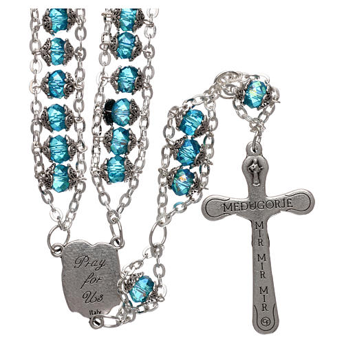 Medjugorje rosary in crystal blue with double chain and 8 mm grains 2