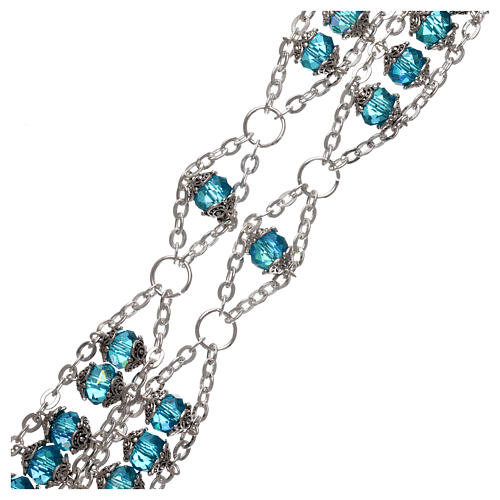 Medjugorje rosary in crystal blue with double chain and 8 mm grains 3