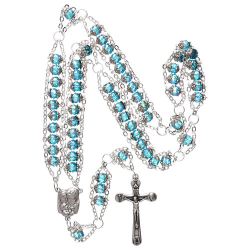 Medjugorje rosary in crystal blue with double chain and 8 mm grains 4