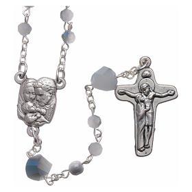 Bracelets, dizainiers: Chapelet Medjugorje cristal bleu blanc 4 mm