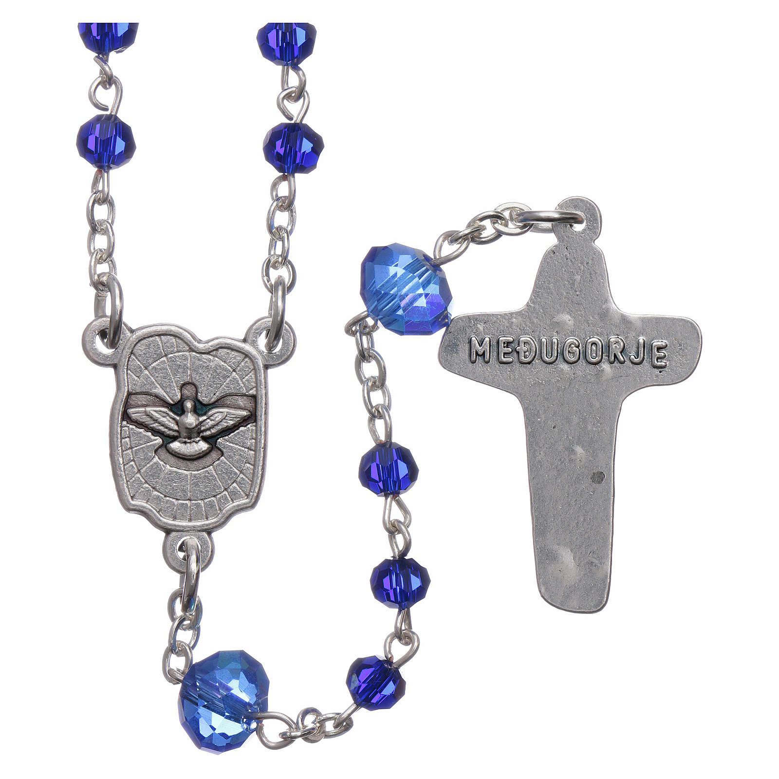 Medjugorje rosary beads in blue crystal with 4 mm grains 4