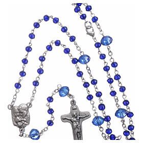 Medjugorje rosary beads in blue crystal with 4 mm grains s4