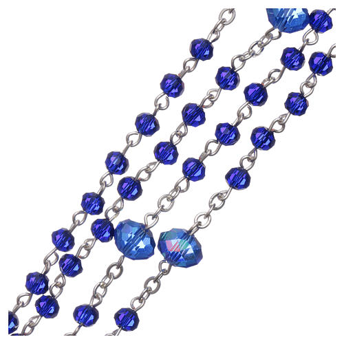 Medjugorje rosary beads in blue crystal with 4 mm grains 3