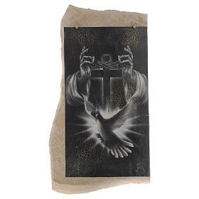 Cuadro cruz negra blanca Espíritu Santo de piedra de Medjugorje s1