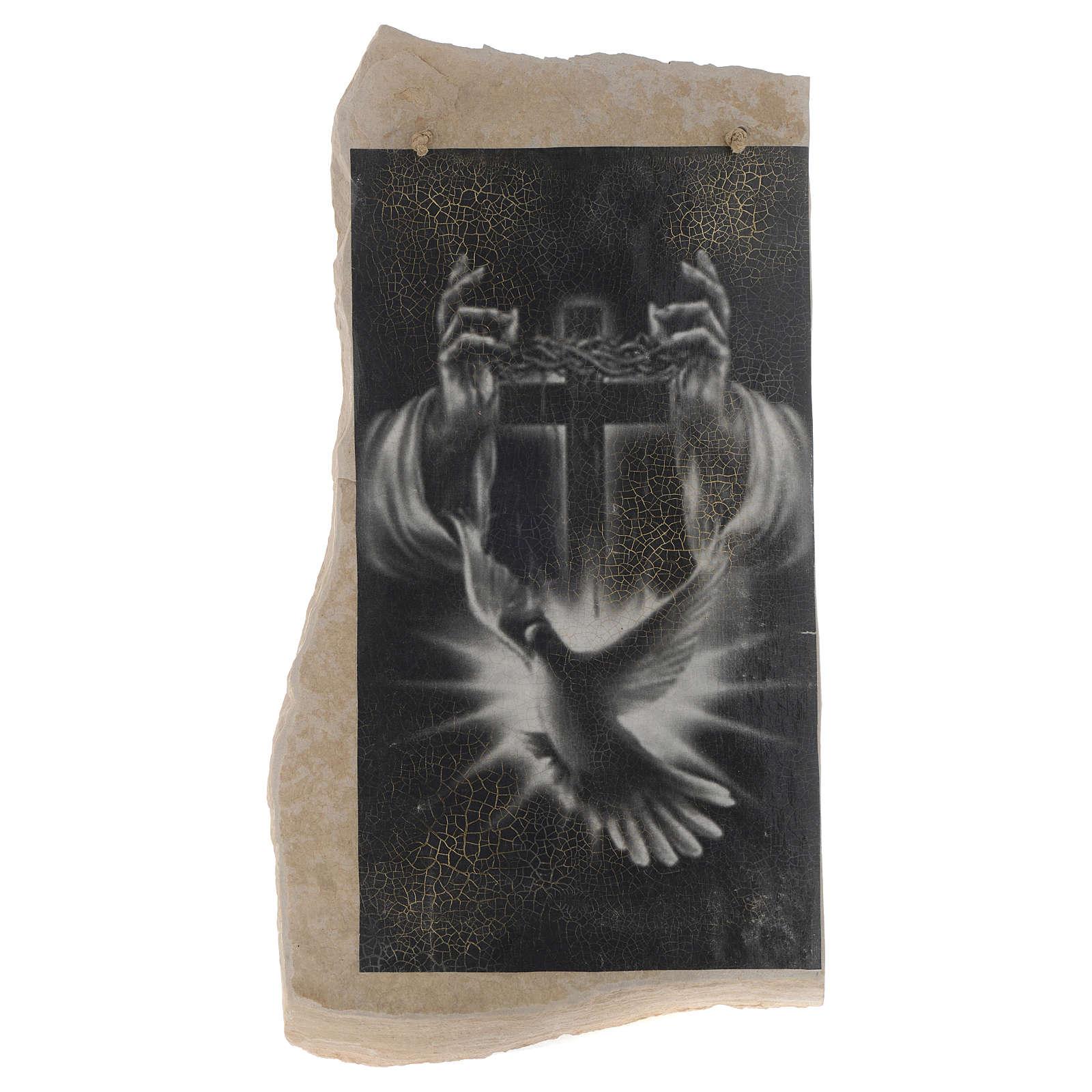 Quadro croce nera bianca Spirito Santo in pietra di Medjugorje 4
