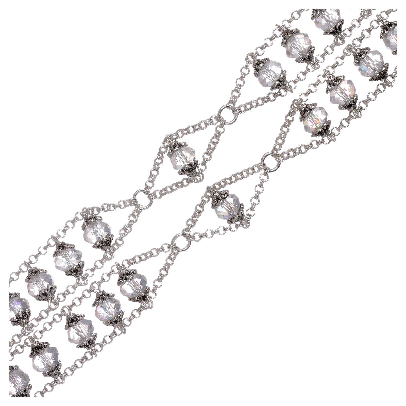Rosario Medjugorje doppia catena cristallo trasparente 4