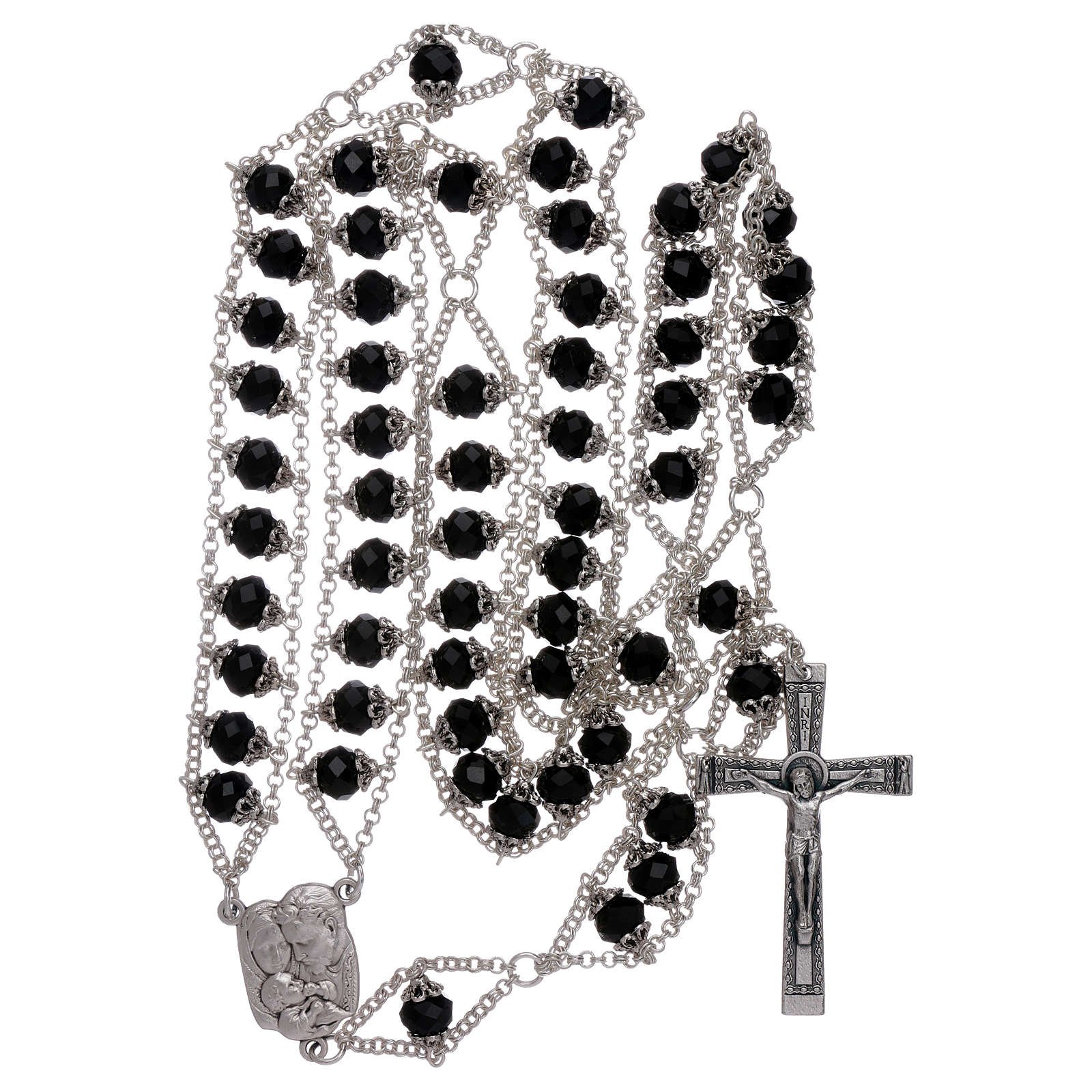 Medjugorje rosary with double chain and black crystal 4