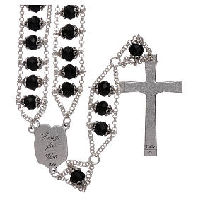 Medjugorje rosary with double chain and black crystal s2