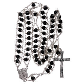 Medjugorje rosary with double chain and black crystal s4