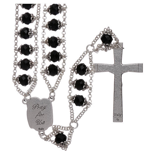 Medjugorje rosary with double chain and black crystal 2