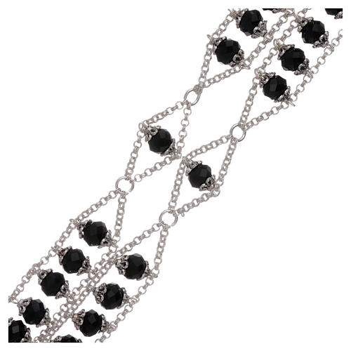 Medjugorje rosary with double chain and black crystal 3