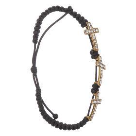 Bracelets, dizainiers: Bracelet Medjugorje 3 croix corde noire et Swarovski
