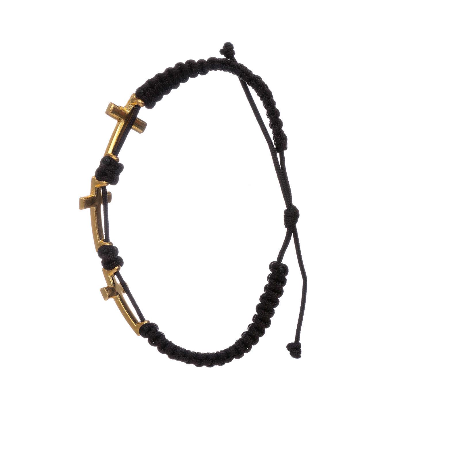 Bracciale Medjugorje 3 croci corda nera e Swarovski 4