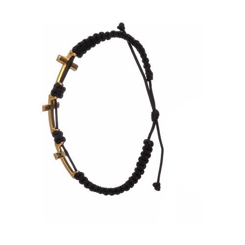 Bracciale Medjugorje 3 croci corda nera e Swarovski 2