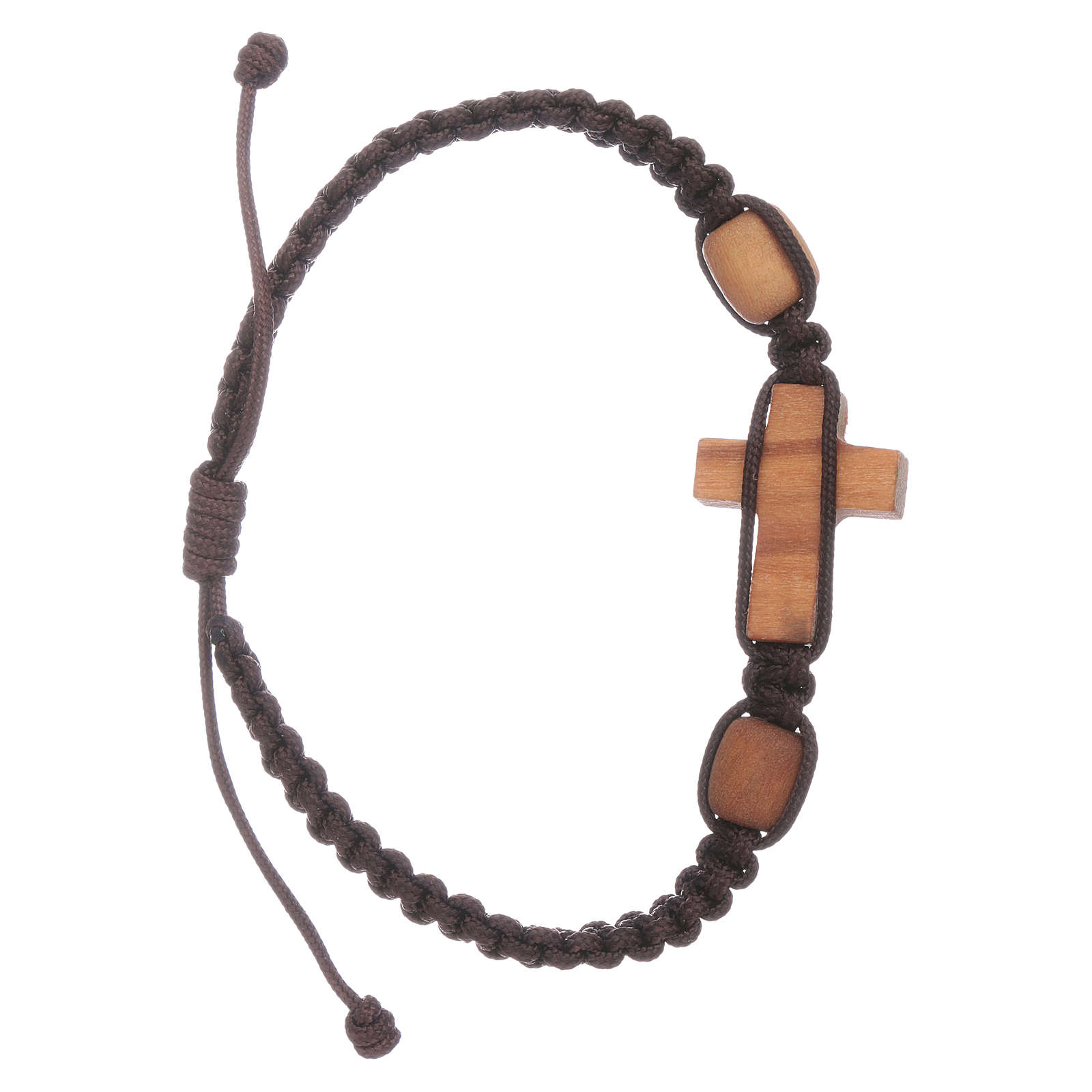 Bracciale Medjugorje croce e grani in ulivo corda marrone 4