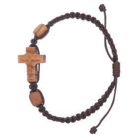 Bracciale Medjugorje croce e grani in ulivo corda marrone s1