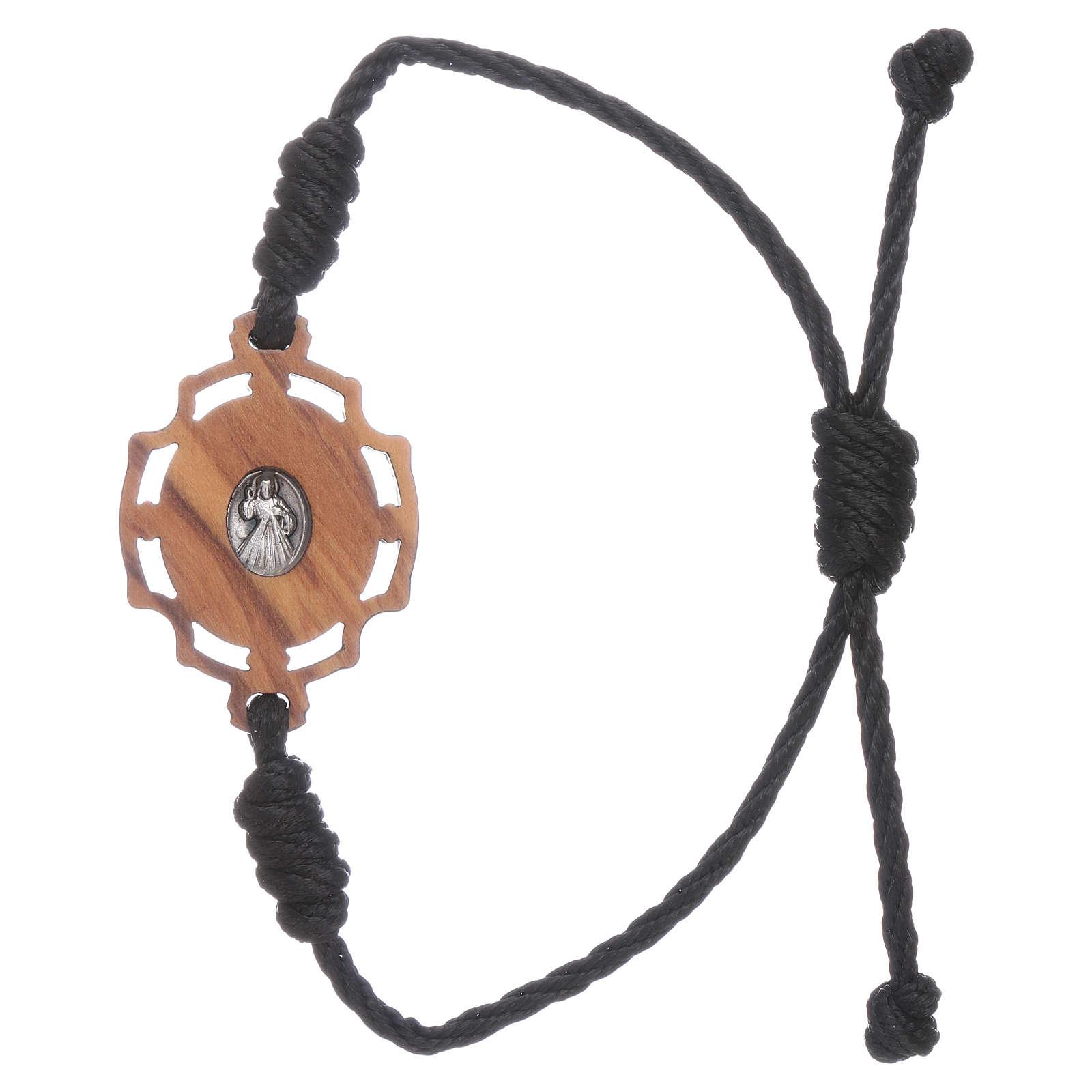 Pulsera Medjuorje imagen Gospa de olivo y cuerda negra 4