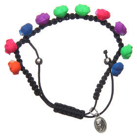 Bracelets, dizainiers: Bracelet dizainier noir roses fluorescentes Medjugorje