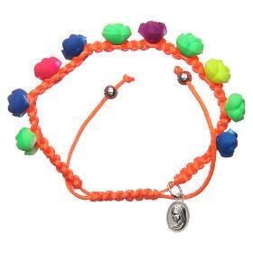 Bracelets, dizainiers: Bracelet dizainier orange roses fluorescentes Medjugorje