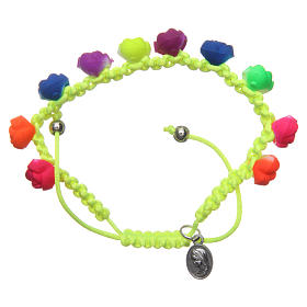 Bracelets, dizainiers: Bracelet dizainier jaune roses fluorescentes Medjugorje
