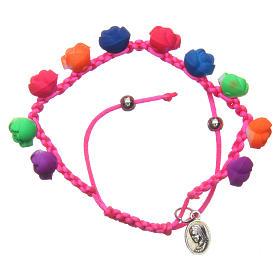 Bracelets, dizainiers: Bracelet dizainier fuchsia roses fluorescentes Medjugorje