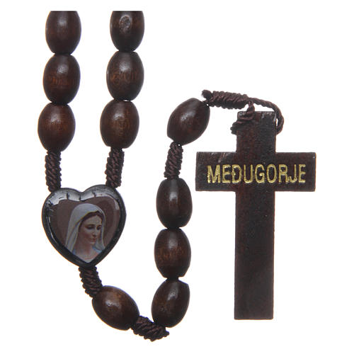 Medjugorje wooden rosary with black grains 1