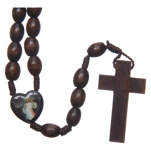 Medjugorje wooden rosary with black grains 2