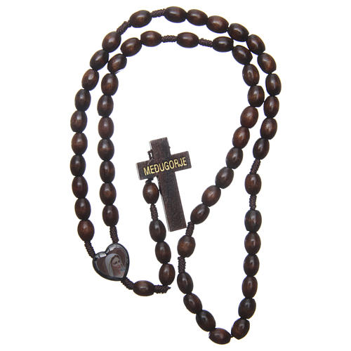 Medjugorje wooden rosary with black grains 4