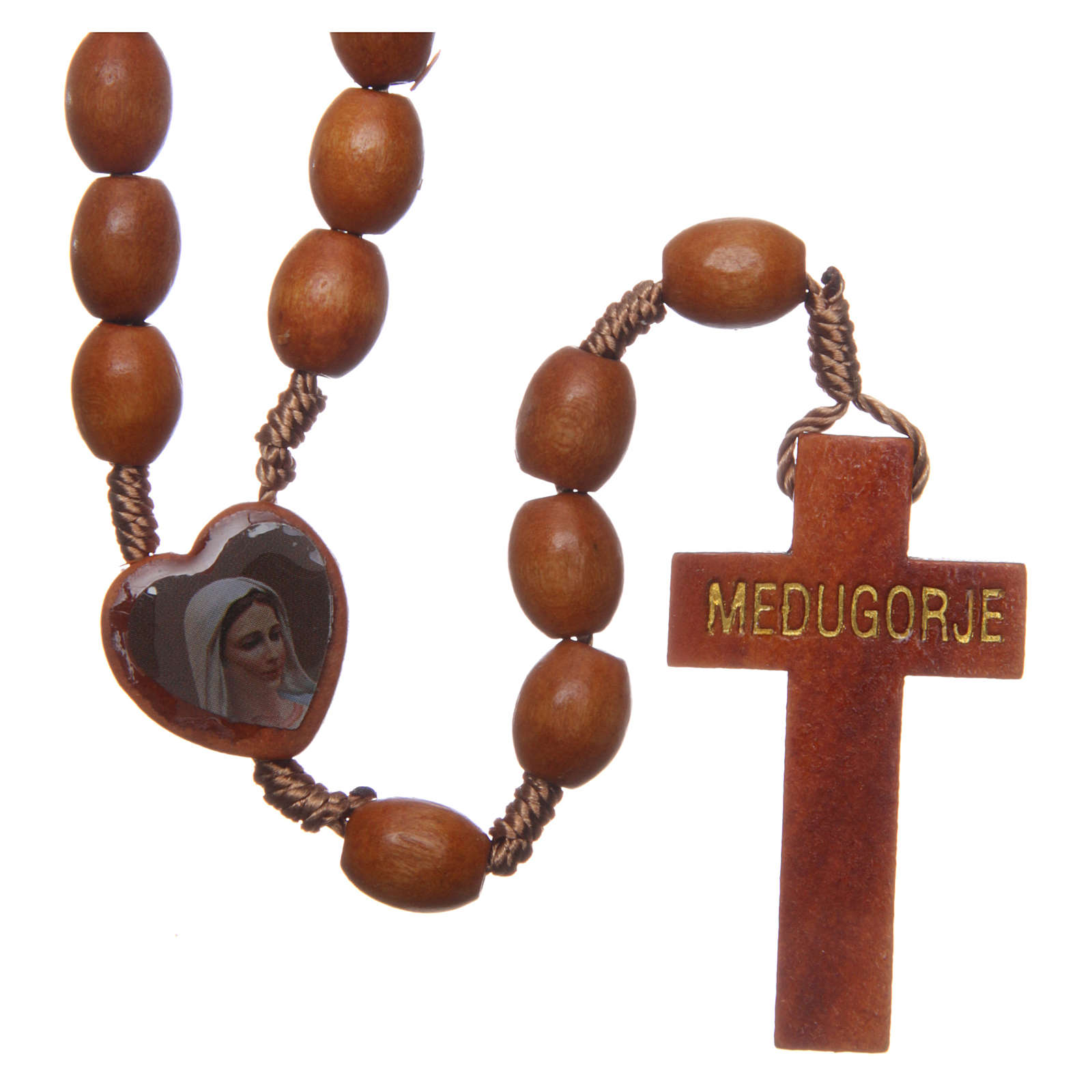 Medjugorje wooden rosary with natural grains 4