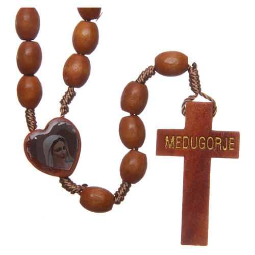 Medjugorje wooden rosary with natural grains 1