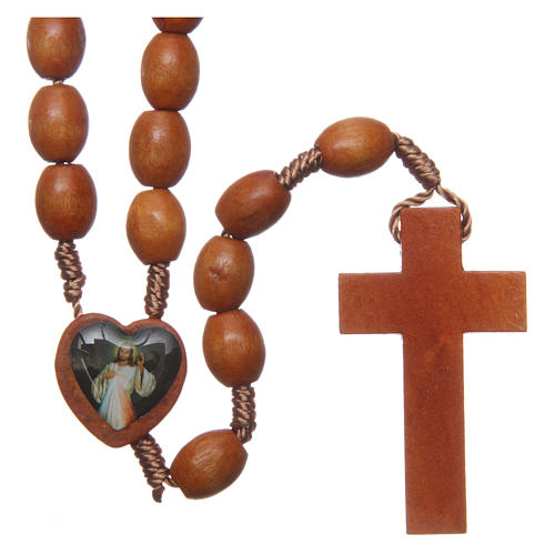 Medjugorje wooden rosary with natural grains 2