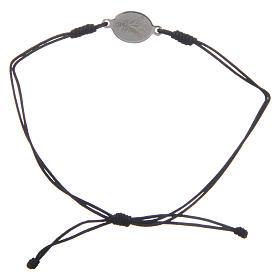 Bracelet Medjugorje corde noire médaille s2